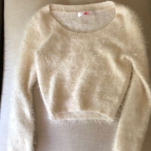 American Apparel White Fuzzy Crop Top